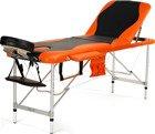 Stół, łóżko do masażu 3 segmentowe aluminiowe czarno - pomarańczowe