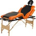 Stół, łóżko do masażu 4 segmentowe drewniane czarno - pomarańczowe