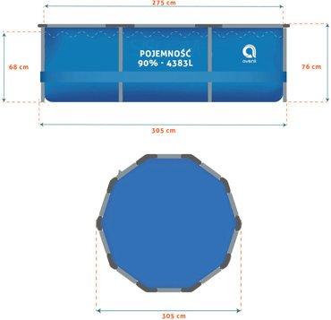 Basen ogrodowy stelażowy JILONG 305x76cm ZESTAW 16w1