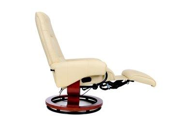 Fotel TV wypoczynkowy z masażem i podnóżkiem - kolor beżowy