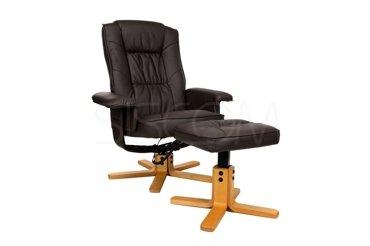 Fotel TV wypoczynkowy z masażem i podnóżkiem - kolor brązowy