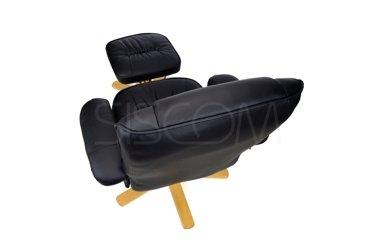 Fotel TV wypoczynkowy z masażem i podnóżkiem - kolor czarny