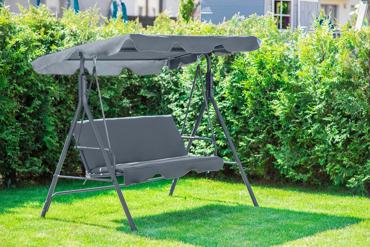 "Huśtawka ogrodowa ""Relax"" dla 3 osób - szara"