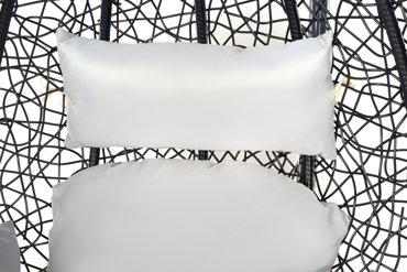 Wiszący kosz technorattan, huśtawka, kokon na stelażu + poduszki - szary